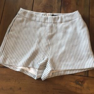 Dressy Blue & White Striped Lined Shorts - Small
